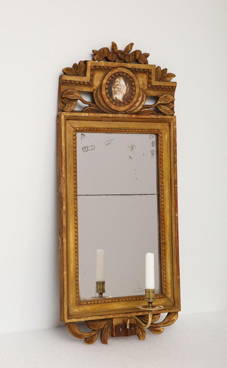 18th Century Gustavian Single Arm Candle Sconce Mirror Center Cameo, Swedish For Sale 2