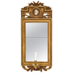 18th Century Gustavian Sconce Mirror with Center Cameo, Sweden, Circa 1780