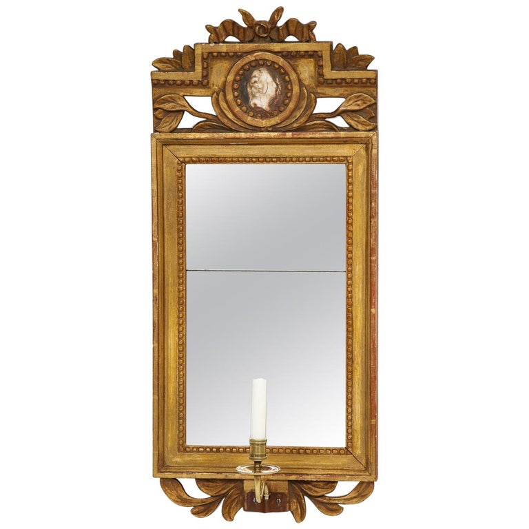 18th Century Gustavian Single Arm Candle Sconce Mirror Center Cameo, Swedish For Sale