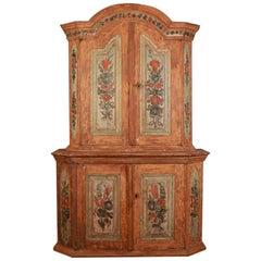 18th Century Gustavian Swedish Original Painted Cupboard