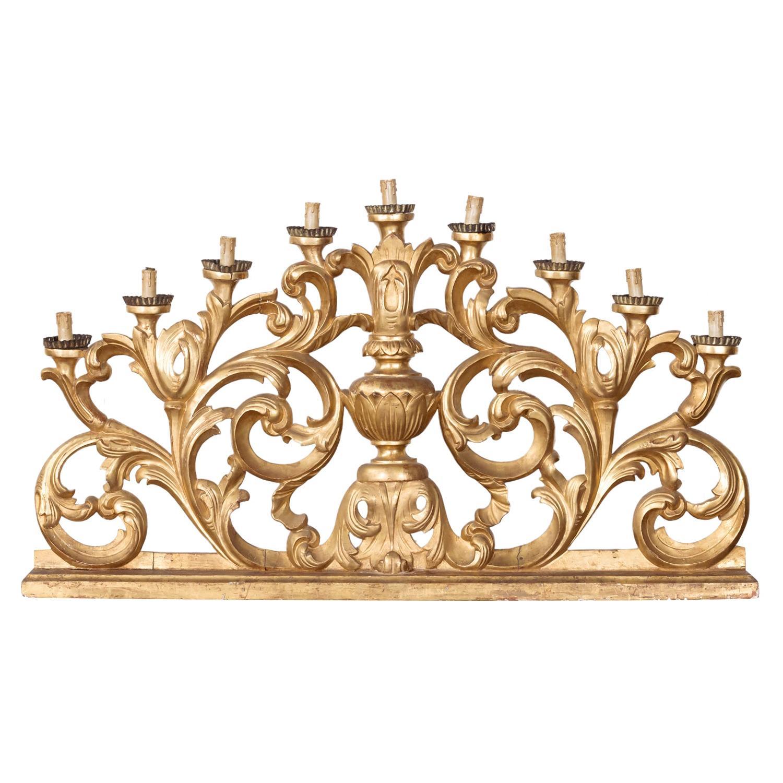 18th Century Hand Carved Italian Baroque Giltwood Altar Candelabra