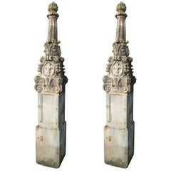18th Century Hand Carved Limestone Spanish Pair of Columns