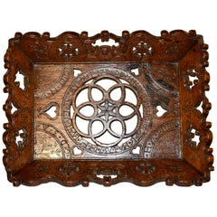 18th Century Hand Carved Oak Linen Tray