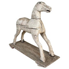 18th Century Hand-Carved Pine Rocking Horse