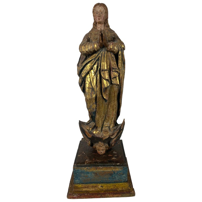 18th Century Hand Carved Polychromed Madonna Statue, French / Italian