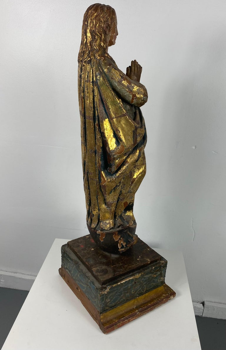 Late 18th Century 18th Century Hand Carved Polychromed Madonna Statue, French / Italian