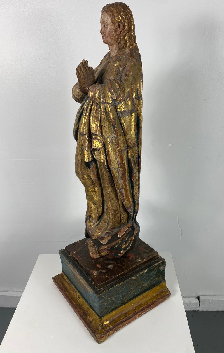 18th Century Hand Carved Polychromed Madonna Statue, French / Italian 1