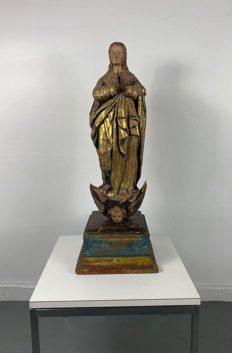 18th Century Hand Carved Polychromed Madonna Statue, French / Italian 3