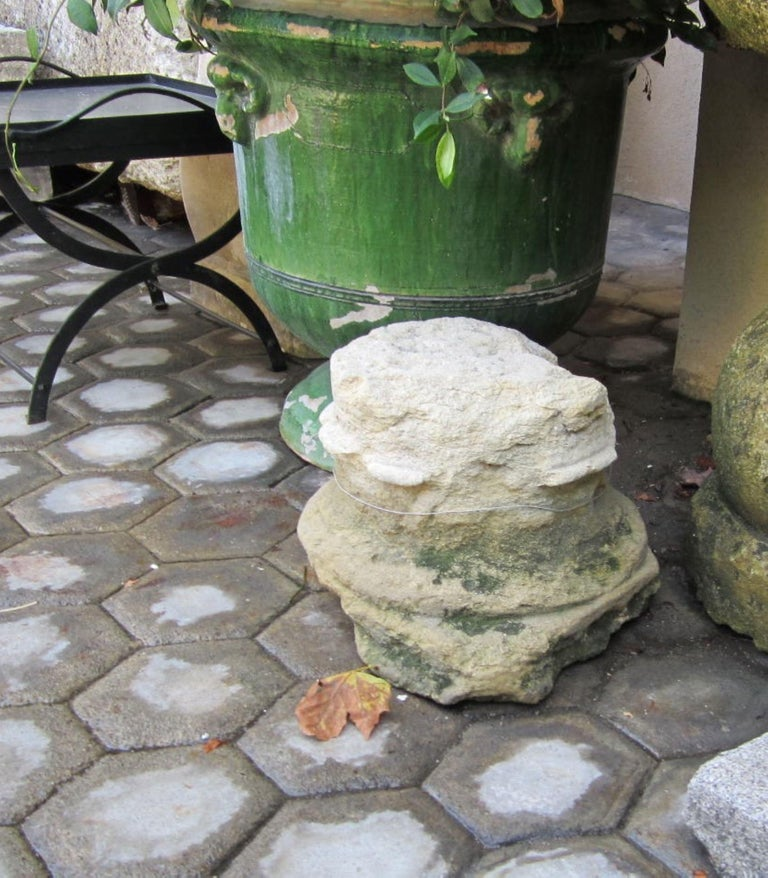 French 18th Century Hand Carved Stone Column Base Sculpture Doorstop Decorative Element For Sale