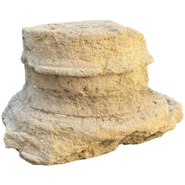 18th Century Hand Carved Stone Column Base Sculpture Doorstop Decorative Element For Sale