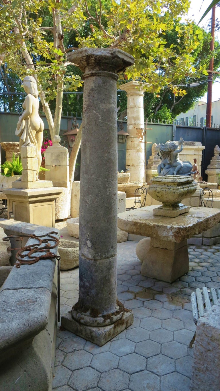 18th Century Hand Carved Stone Garden Columns Architectural Elements Decorative For Sale 4