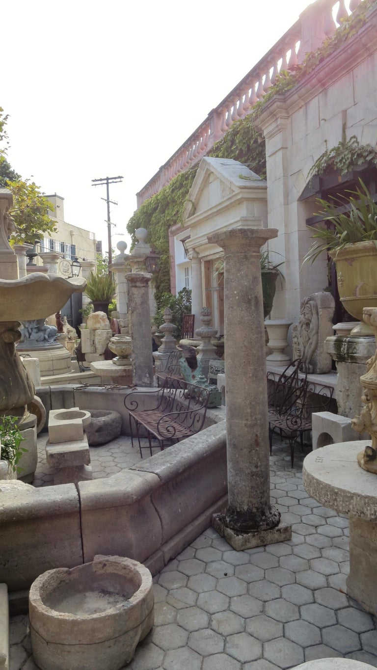 18th Century Hand Carved Stone Garden Columns Architectural Elements Decorative For Sale 6