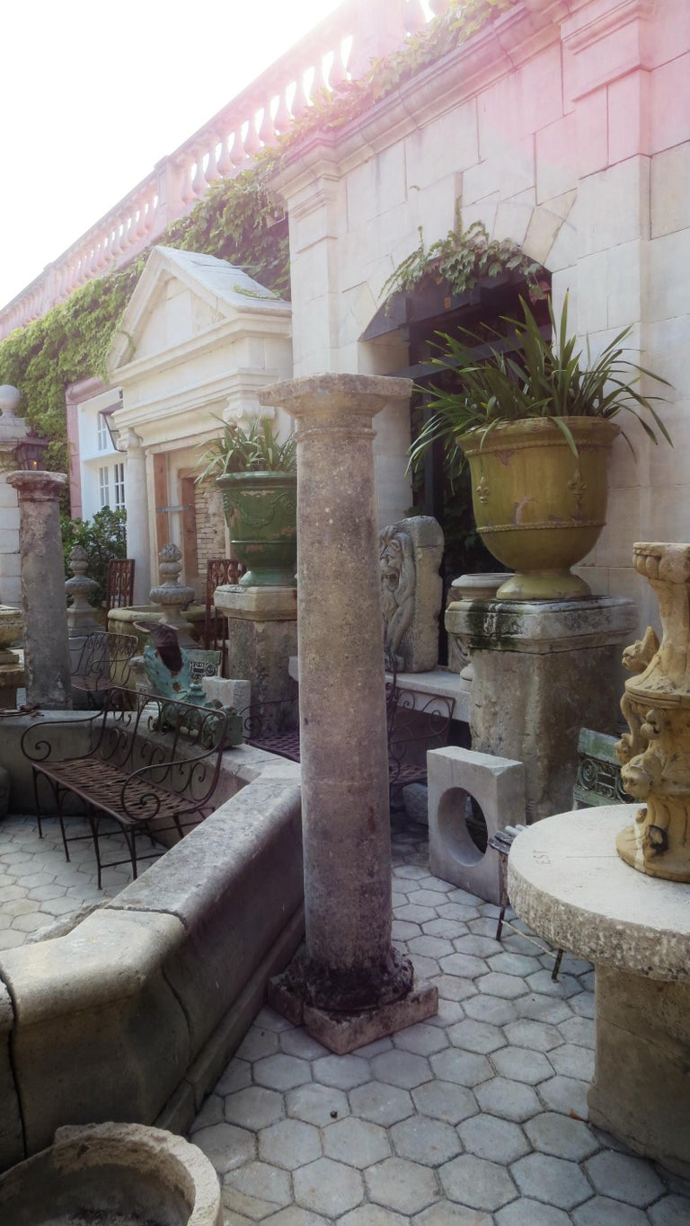 18th Century Hand Carved Stone Garden Columns Architectural Elements Decorative For Sale 7