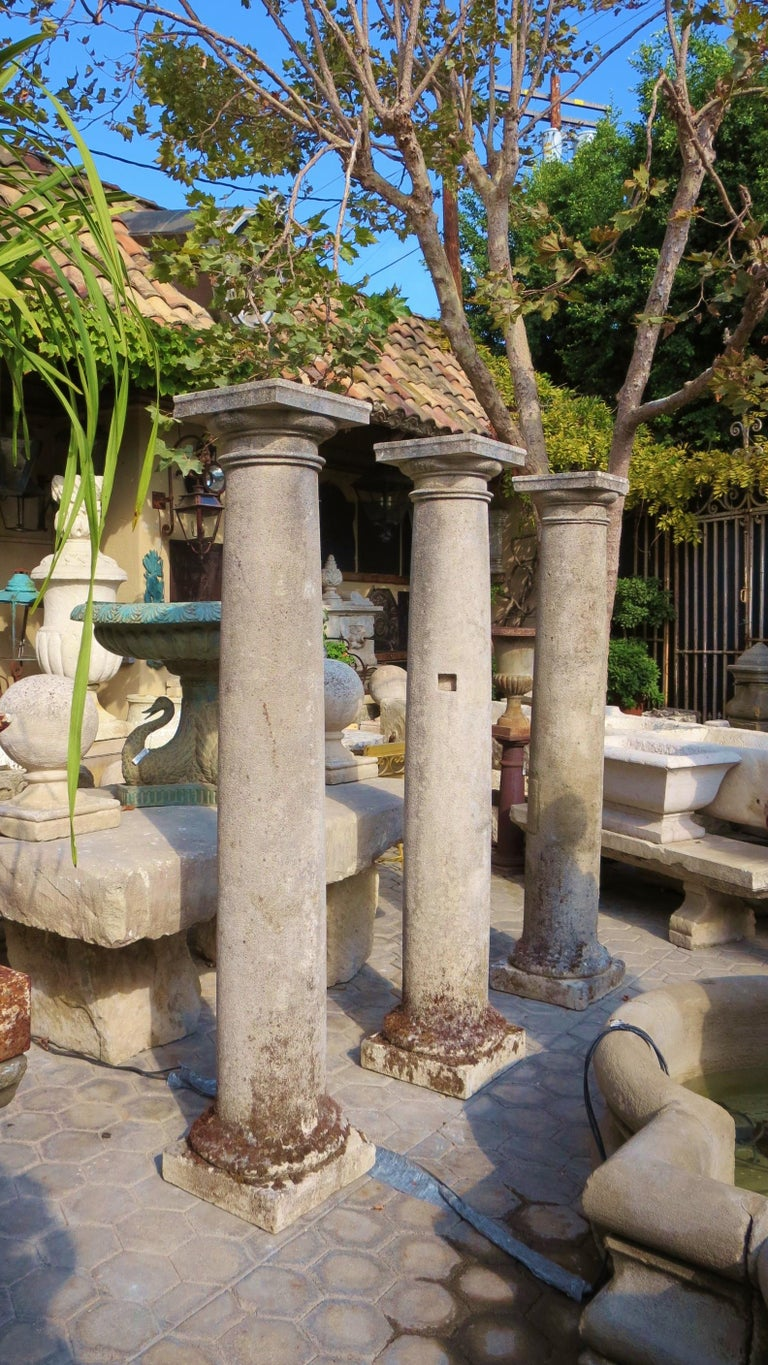 18th Century Hand Carved Stone Garden Columns Architectural Elements Decorative For Sale 8