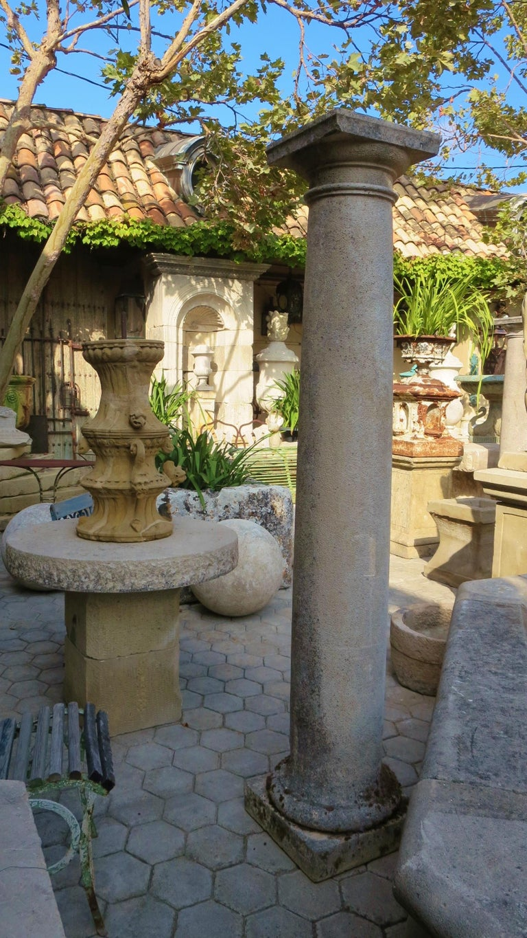 18th Century Hand Carved Stone Garden Columns Architectural Elements Decorative For Sale 9