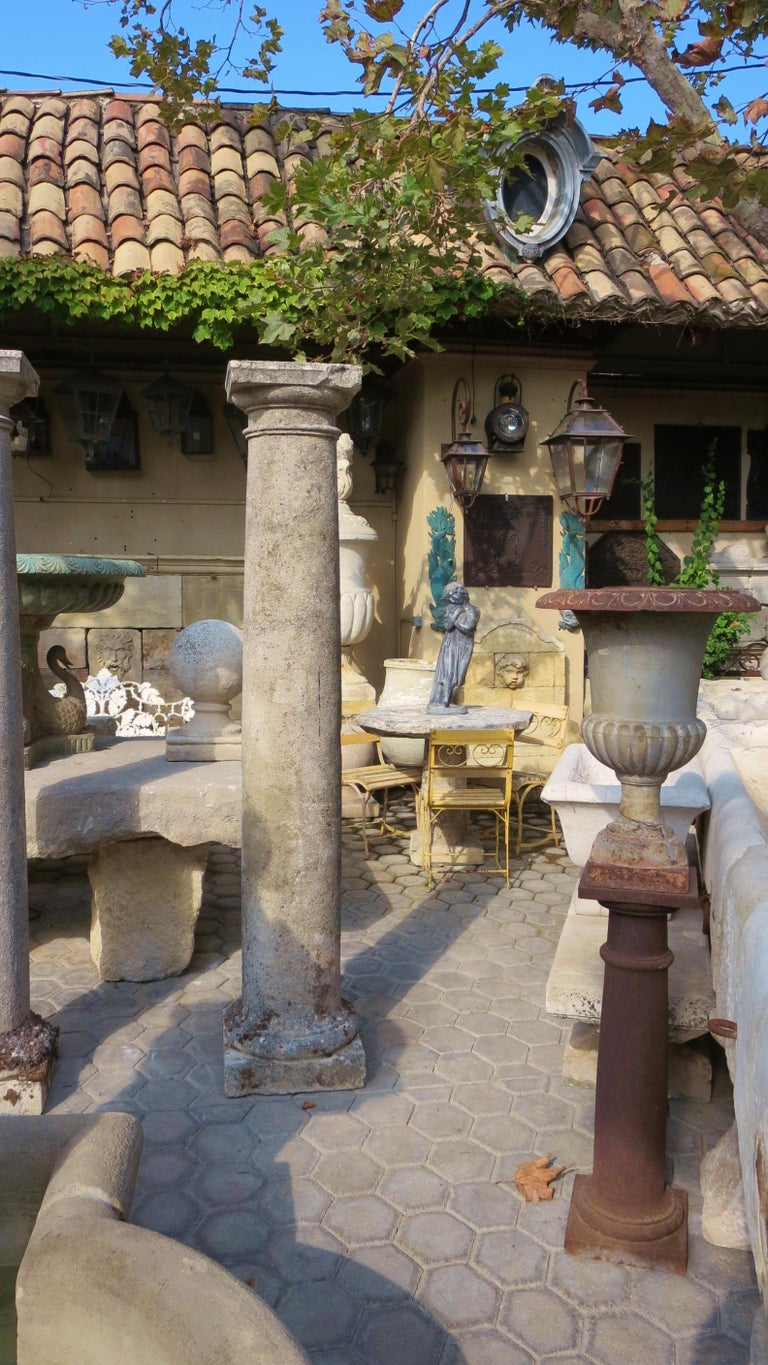 18th Century Hand Carved Stone Garden Columns Architectural Elements Decorative For Sale 10
