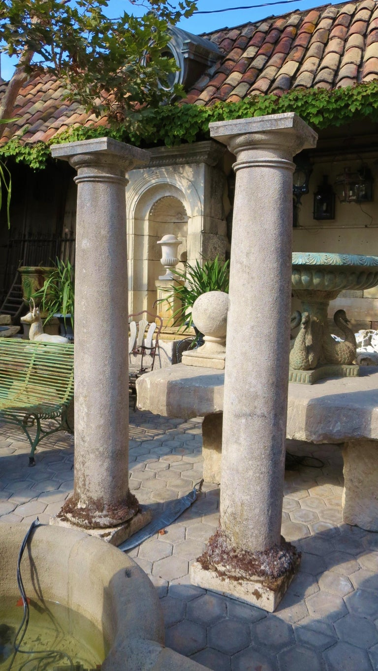 18th Century Hand Carved Stone Garden Columns Architectural Elements Decorative For Sale 14