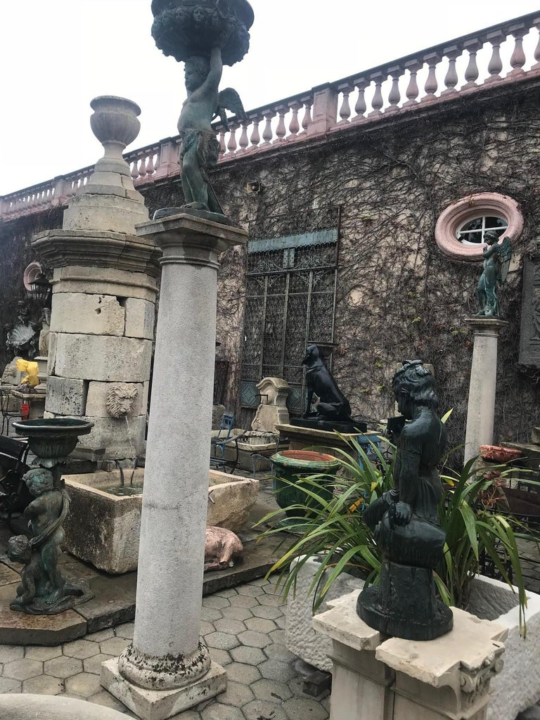 European 18th Century Hand Carved Stone Garden Columns Architectural Elements Decorative For Sale