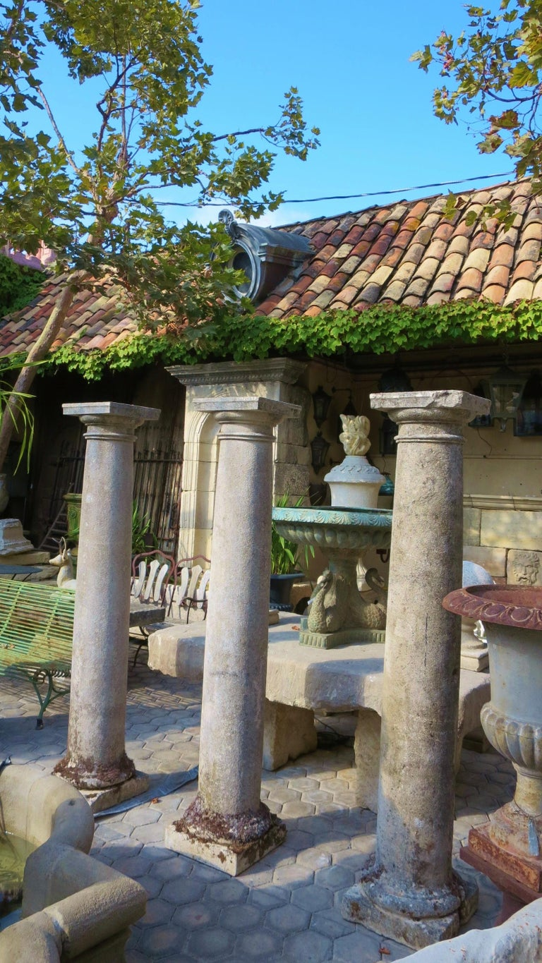 Hand-Carved 18th Century Hand Carved Stone Garden Columns Architectural Elements Decorative For Sale