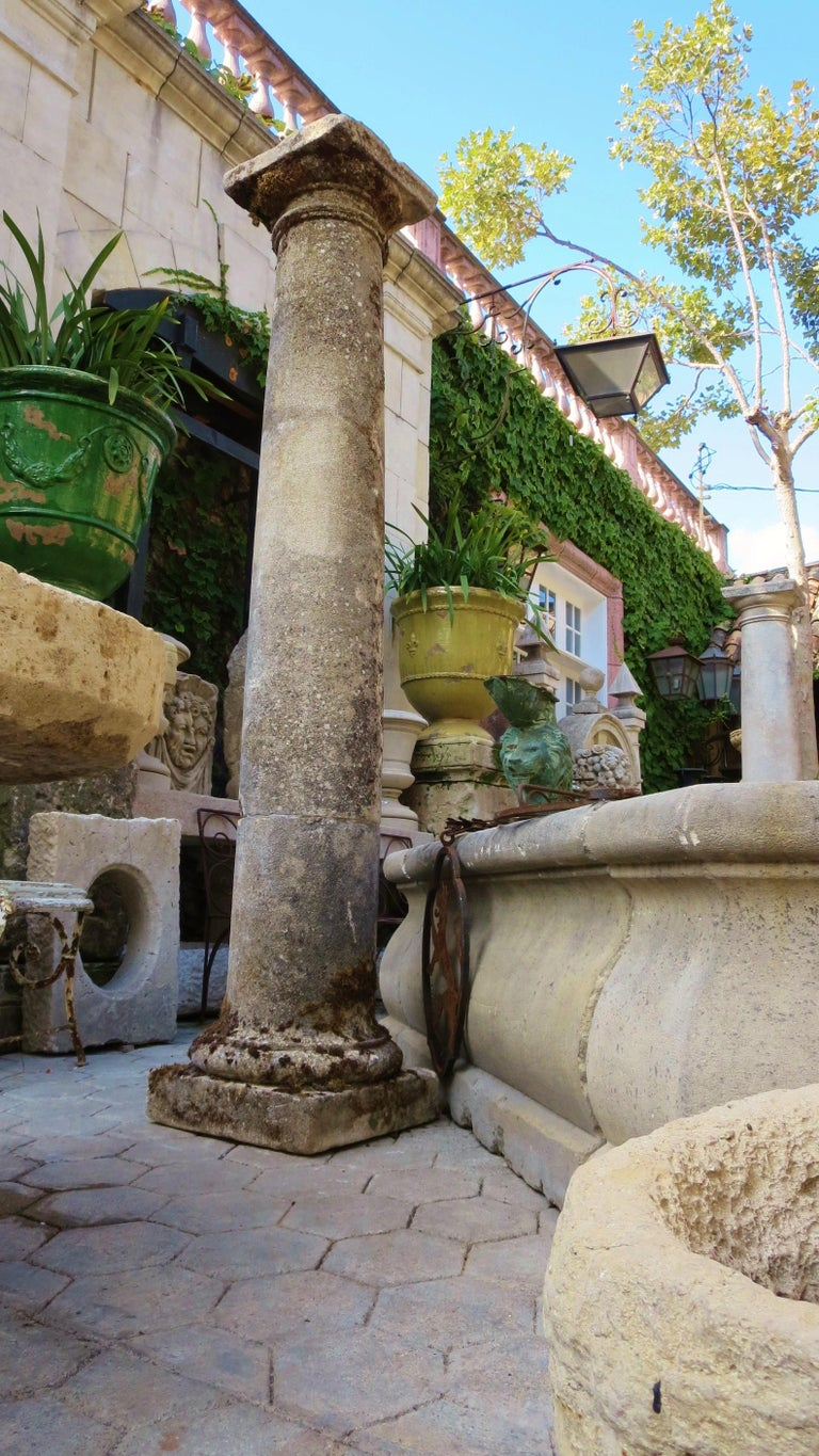18th Century Hand Carved Stone Garden Columns Architectural Elements Decorative For Sale 3