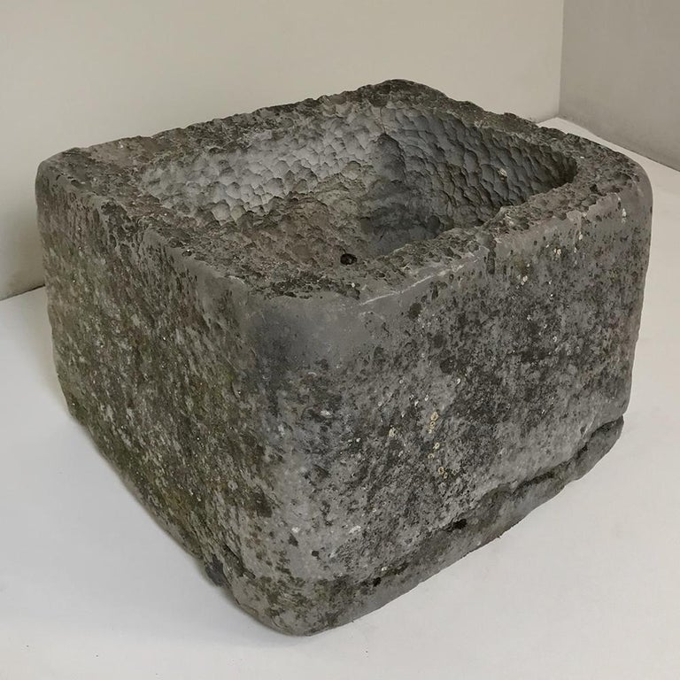 Rustic 18th Century Hand Carved Stone Jardinière For Sale
