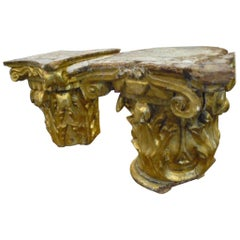 18th Century Hand Carved Wood and Gold Leaf Capital from Spain