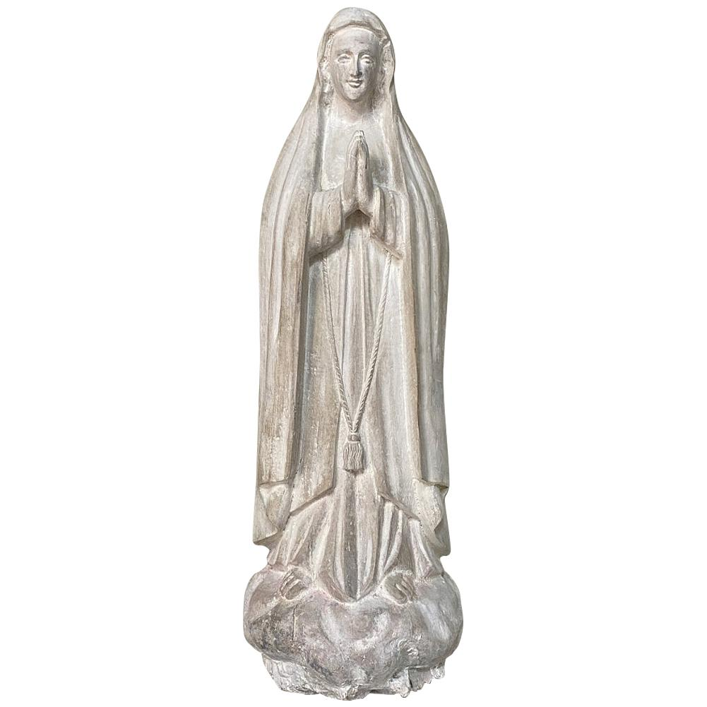 18th Century Hand Carved Wooden Statue of Madonna
