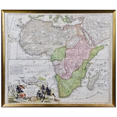 "18th Century Hand Colored Homann Africa Map ""Totius Africae Nova Representatio"""