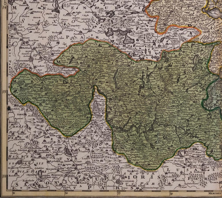 18th Century Hand-Colored Homann Map of Germany, Including Frankfurt and Berlin In Good Condition For Sale In Alamo, CA