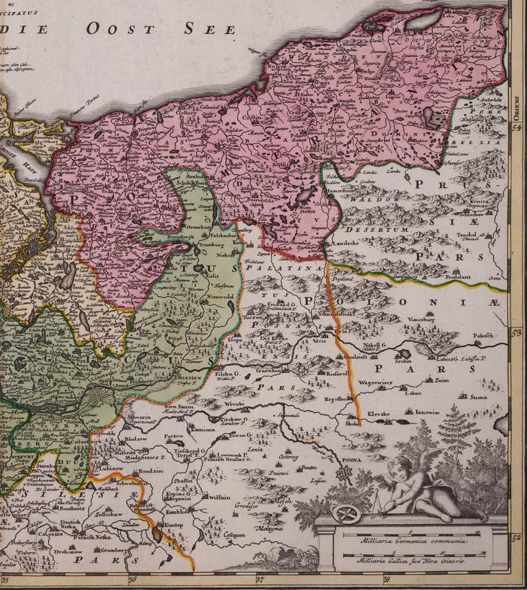 Paper 18th Century Hand-Colored Homann Map of Germany, Including Frankfurt and Berlin For Sale