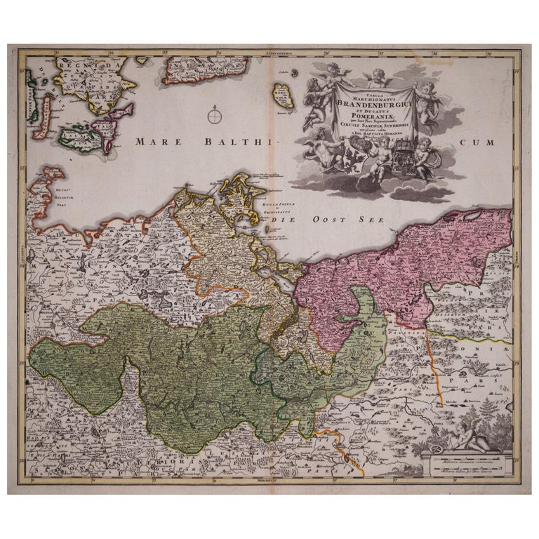 18th Century Hand-Colored Homann Map of Germany, Including Frankfurt and Berlin For Sale