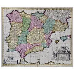 18th Century Hand Colored Map of Spain and Portugal by Visscher