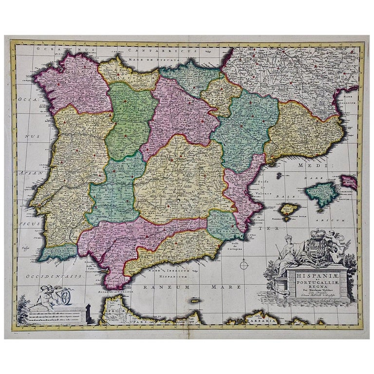 18th Century Hand Colored Map of Spain and Portugal by Visscher For Sale