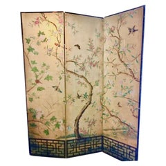 18th Century Hand Painted Chinese Wallpaper Three-Panel Screen