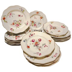 18th Century Hand Painted French Soft Paste Porcelain Dinner Plates, Set of 16