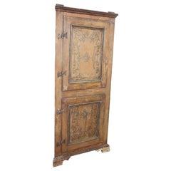 18th Century Hand Painted Poplar Wood Antique Corner Cupboard or Corner Cabinet