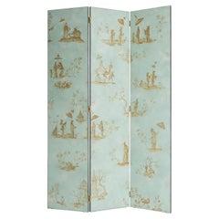 18th Century Hand-Painted Venetian Style Aquamarine 3-Panels Otello Screen