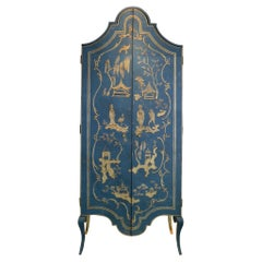 18th Century Hand-Painted Venetian Style Deep Blue & Chinoiserie Tevere Armoire