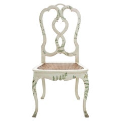 18th Century Hand-Painted Venetian Style Dove Cane Corte Chair with Ferns Decors