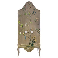 18th Century Hand-Painted Venetian Style Grey Tevere Armoire with Foliage Decor