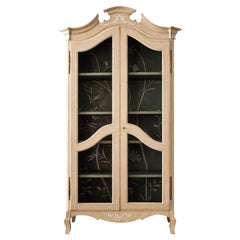 18th Century Hand-Painted Venetian Style Light Taupe & Green Padua Armoire