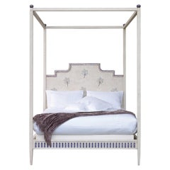 18th Century Hand-Painted Venetian Style Queen Size White Canopy Modigliani Bed