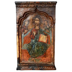 18th Century Hand Painted Wooden Icon Jesus Mary and John