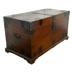 18th Century Heavy Iron Banded Traveling Silver Sea Chest