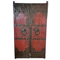 18th Century Heavy Painted Oak and Iron Oriental Doors