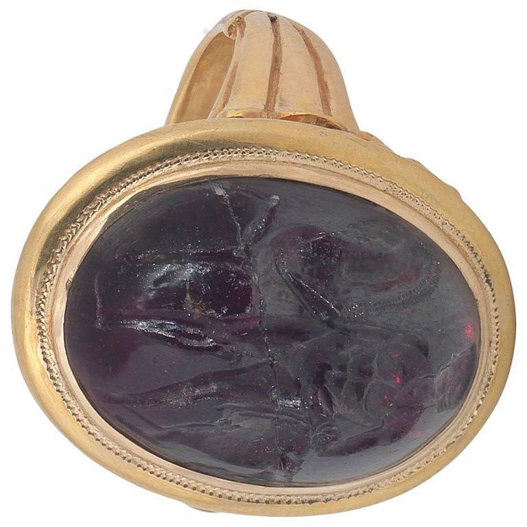 Georgian 18th Century Hessonite Garnet Intaglio Hercules and Horse Ring For Sale