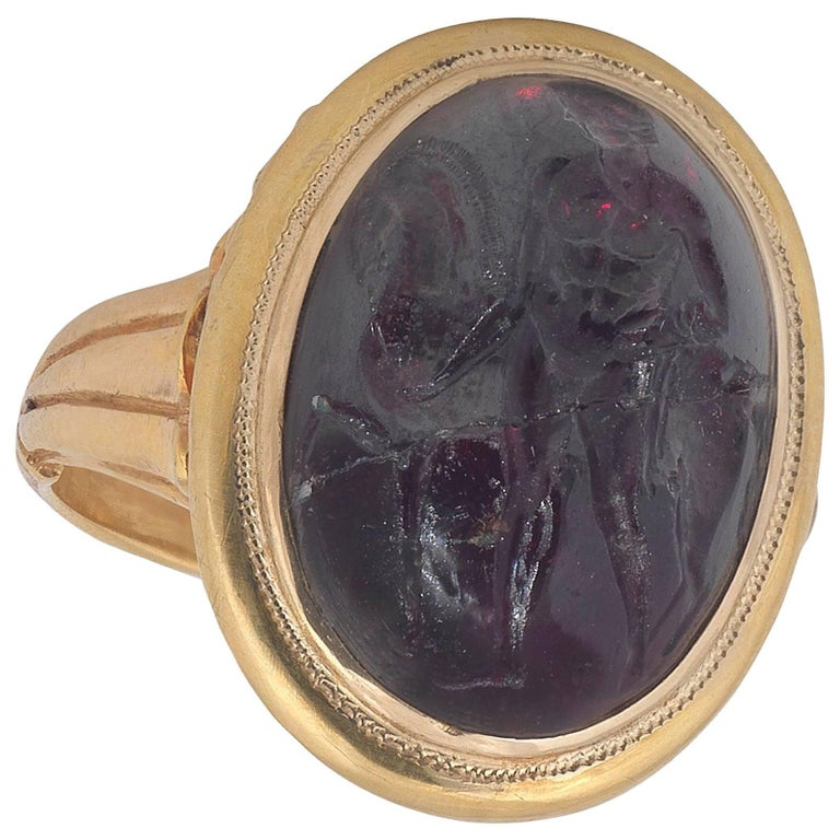 18th Century Hessonite Garnet Intaglio Hercules and Horse Ring For Sale