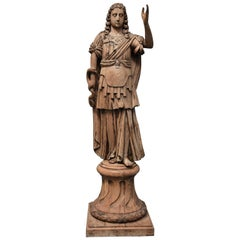 18th Century Highly Decorative Life-Size Continental Carved Oak Figure