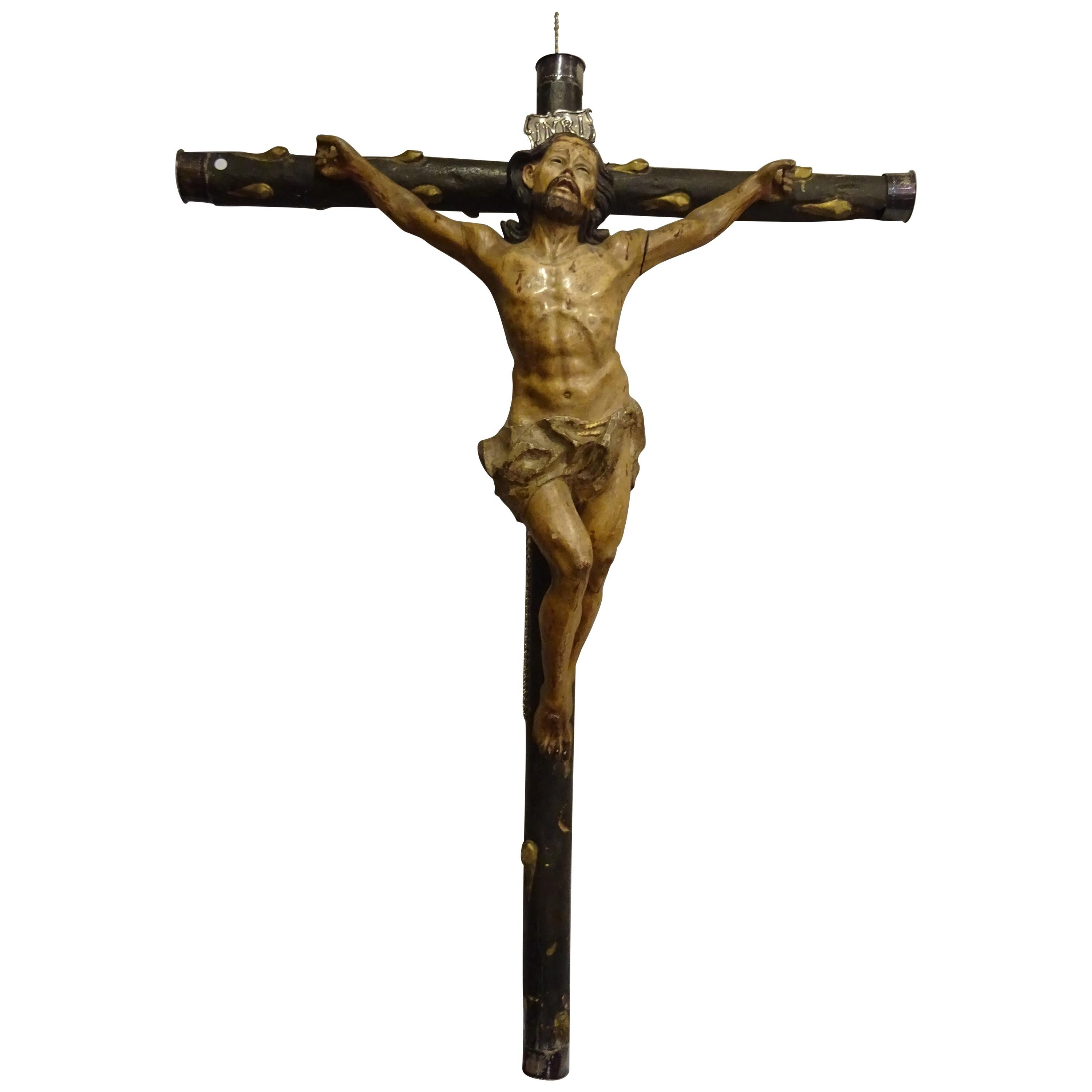 18th Hispanic Filipino Crucified  Christ  Carved Wood Sculpture