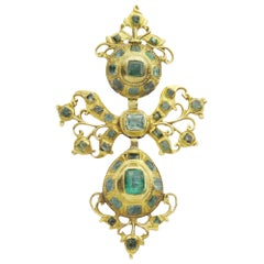 18th Century, Iberian 22 Karat Gold and Emerald Pendant